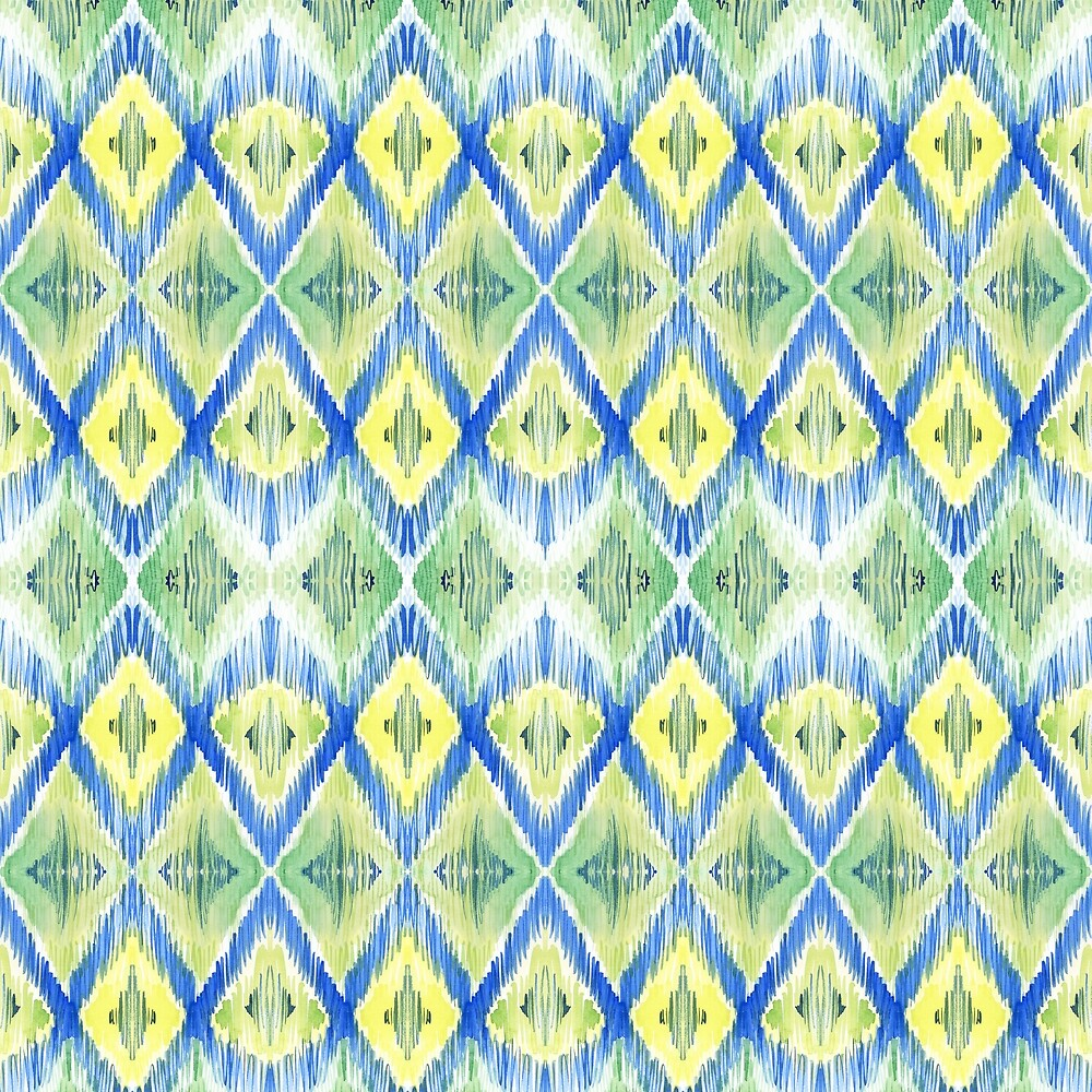 Ikat Lime and Blue Pattern by LThomasDesigns