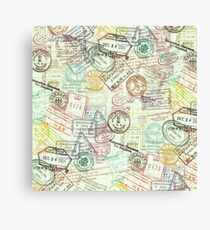 Passport-Briefmarken Leinwanddruck