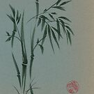 Ethereal - Sumie ink brush pen bamboo painting on vintage paper by Rebecca Rees