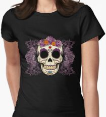 Vintage Skull and Roses Women's Fitted T-Shirt
