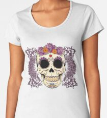 Vintage Skull and Roses Women's Premium T-Shirt
