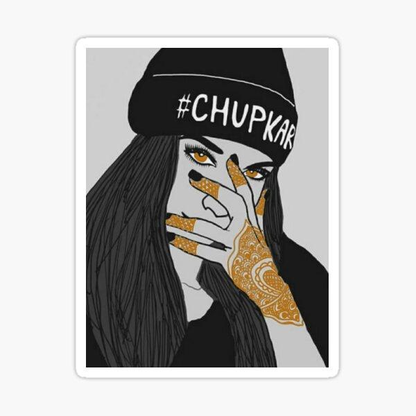 Chup Kar Beanie Girl- Black and White Edition  Sticker