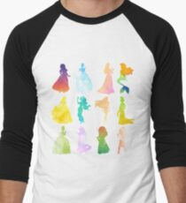 Princesses Watercolor Silhouette Men's Baseball ¾ T-Shirt