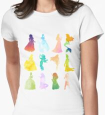 Princesses Watercolor Silhouette Women's Fitted T-Shirt