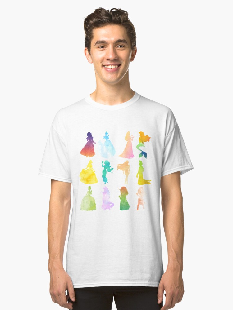 Princesses Watercolor Silhouette Classic T-Shirt Front
