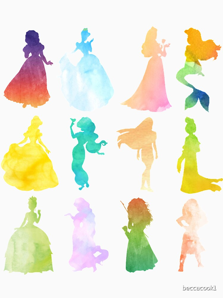 Princesses Watercolor Silhouette by beccacook1