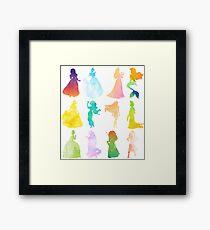 Princesses Watercolor Silhouette Framed Print