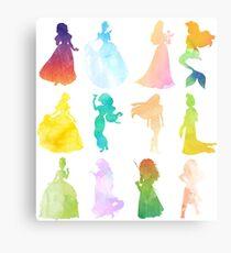 Princesses Watercolor Silhouette Metal Print