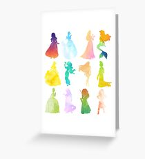 Princesses Watercolor Silhouette Greeting Card