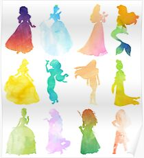 Princesses Watercolor Silhouette Poster