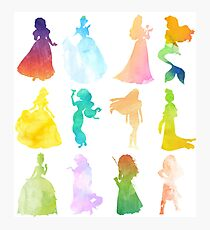Princesses Watercolor Silhouette Photographic Print