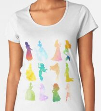 Princesses Watercolor Silhouette Women's Premium T-Shirt