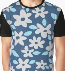 Gray Flowers on Blue Graphic T-Shirt