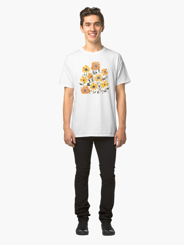 Alternate view of Sunflower Watercolor – Yellow & Black Palette Classic T-Shirt