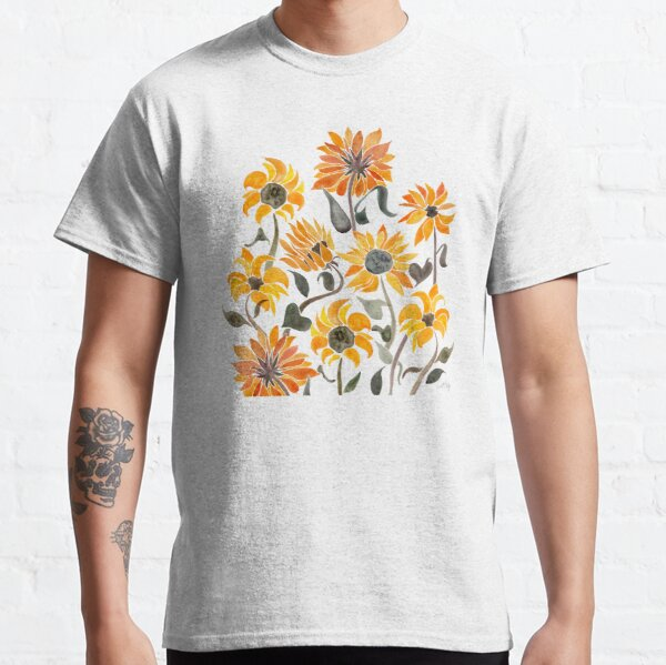 Sunflower Watercolor – Yellow & Black Palette Classic T-Shirt