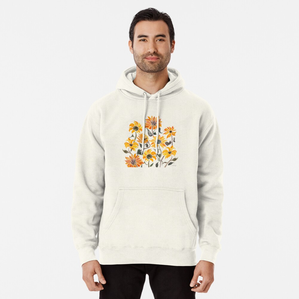 Sunflower Watercolor – Yellow & Black Palette Pullover Hoodie