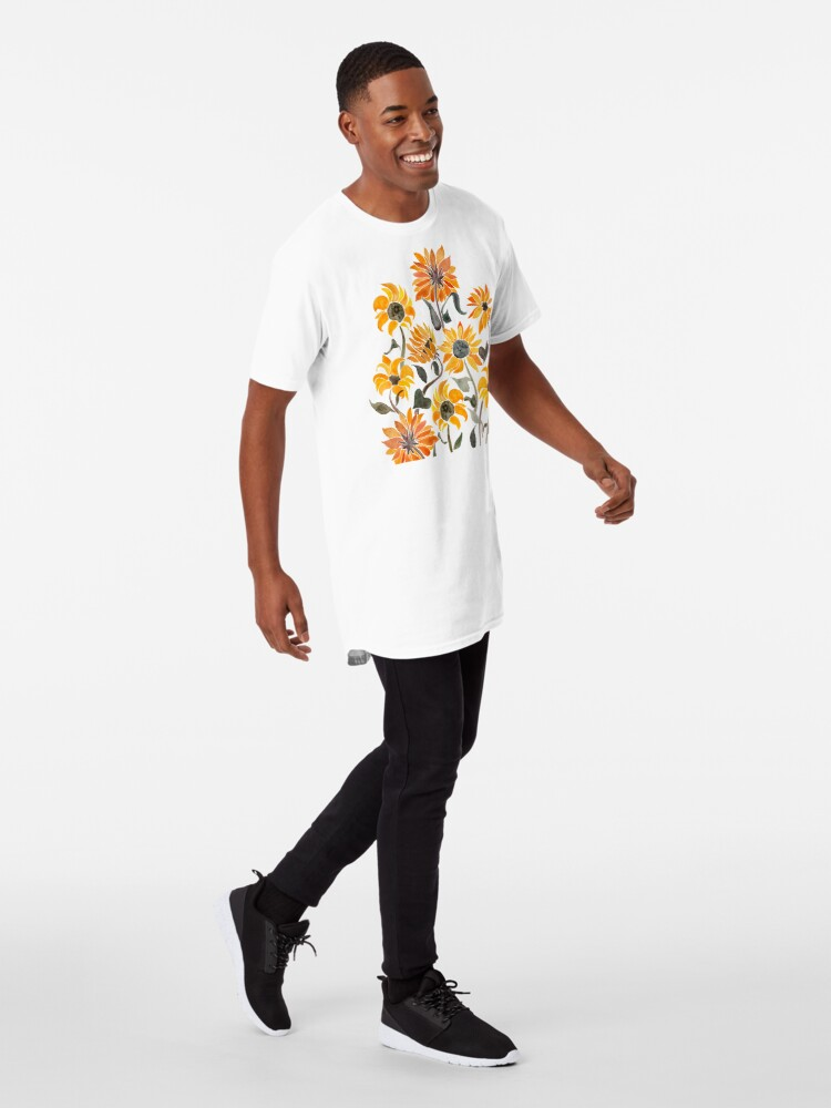 Alternate view of Sunflower Watercolor – Yellow & Black Palette Long T-Shirt