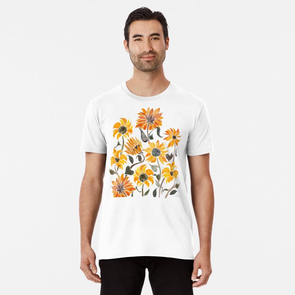 Sunflower Watercolor – Yellow & Black Palette Premium T-Shirt