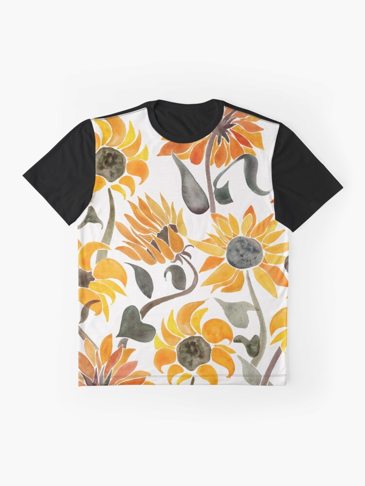 Alternate view of Sunflower Watercolor – Yellow & Black Palette Graphic T-Shirt