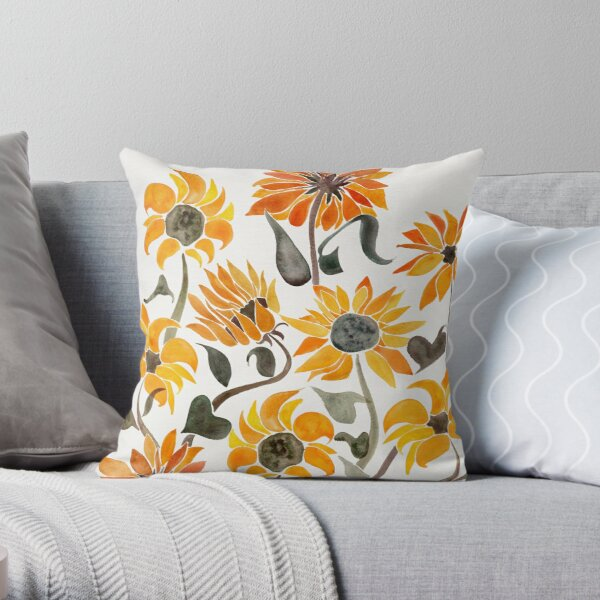 Sunflower Watercolor – Yellow & Black Palette Throw Pillow