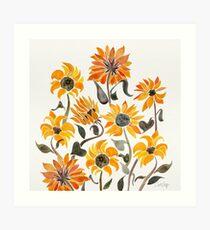 Sonnenblume-Aquarell - gelbe u. Schwarze Palette Kunstdruck