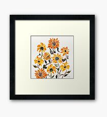 Sunflower Watercolor – Yellow & Black Palette Framed Print