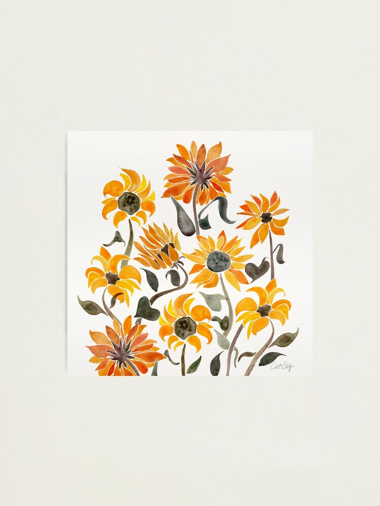 Alternate view of Sunflower Watercolor – Yellow & Black Palette Photographic Print