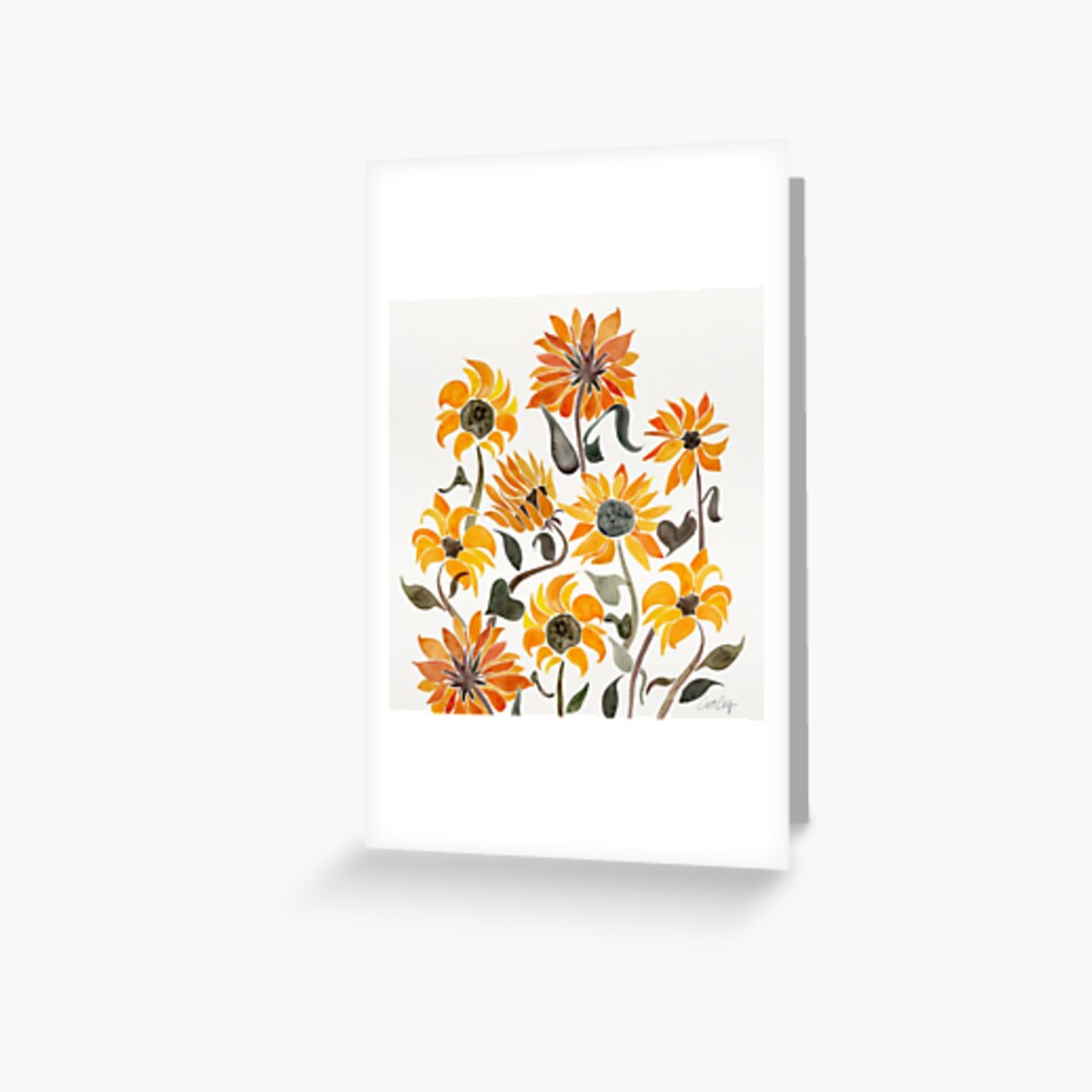 Sunflower Watercolor – Yellow & Black Palette Greeting Card