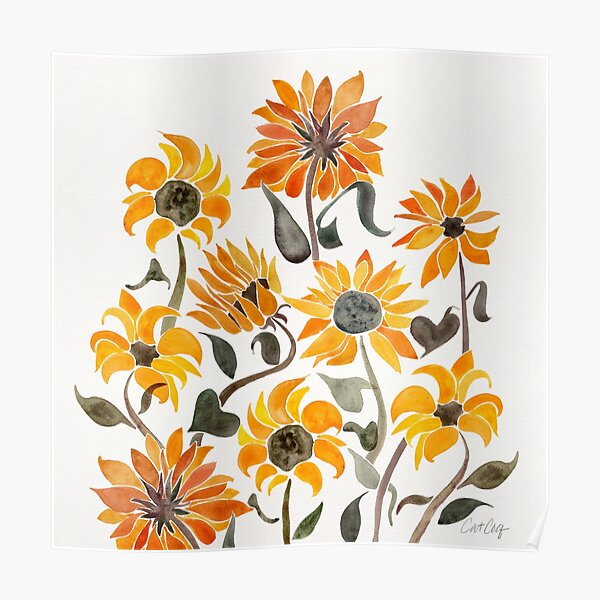 Sunflower Watercolor – Yellow & Black Palette Poster