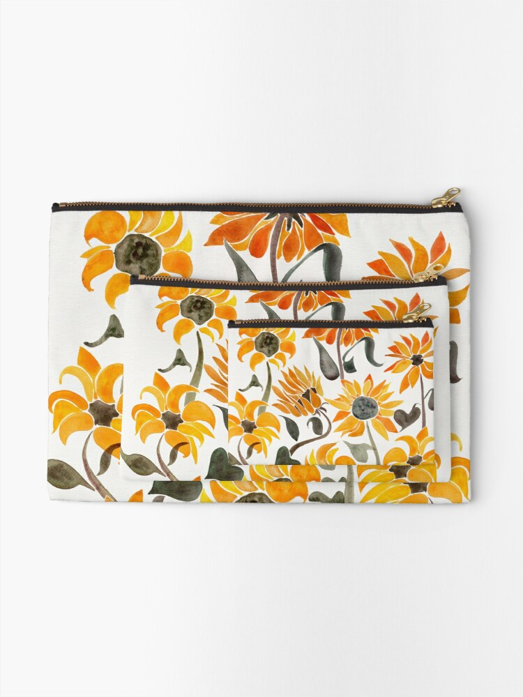 Alternate view of Sunflower Watercolor – Yellow & Black Palette Zipper Pouch