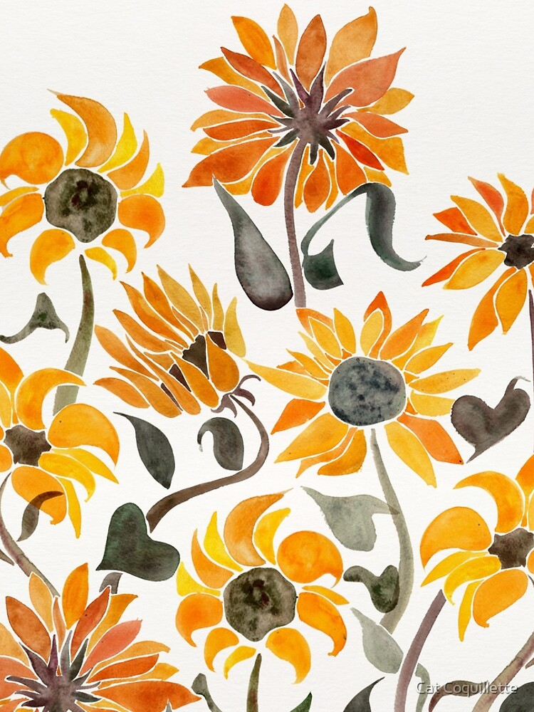 Sunflower Watercolor – Yellow & Black Palette by catcoq