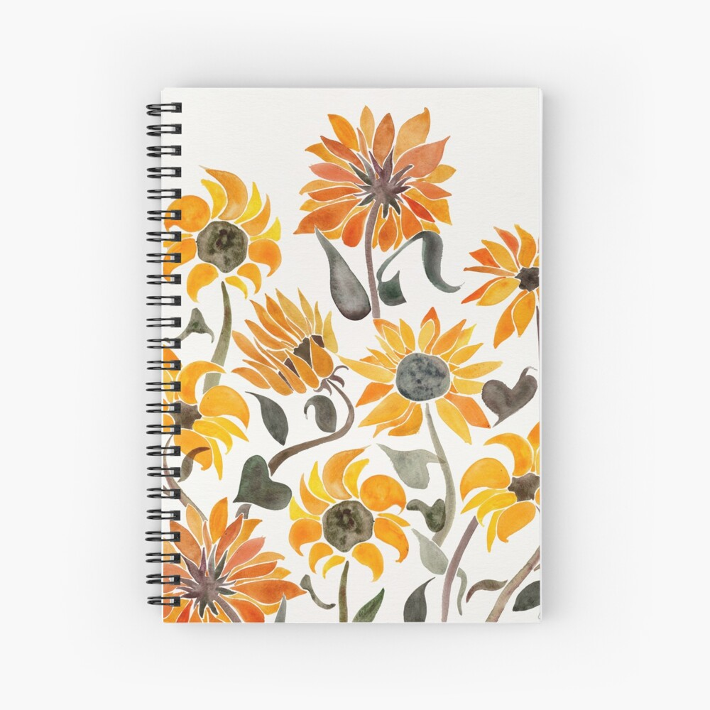 Sunflower Watercolor – Yellow & Black Palette Spiral Notebook