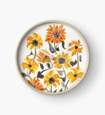 Sunflower Watercolor – Yellow & Black Palette Clock