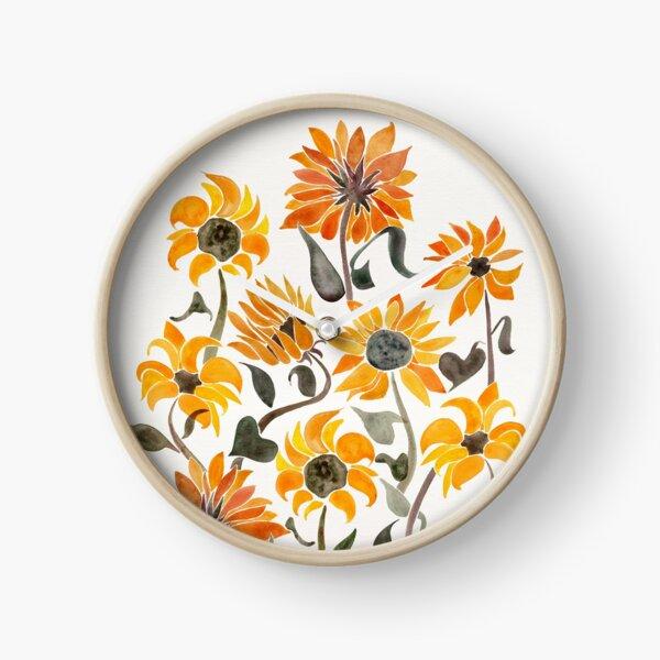 Sunflower Watercolor – Yellow & Black Palette Clock