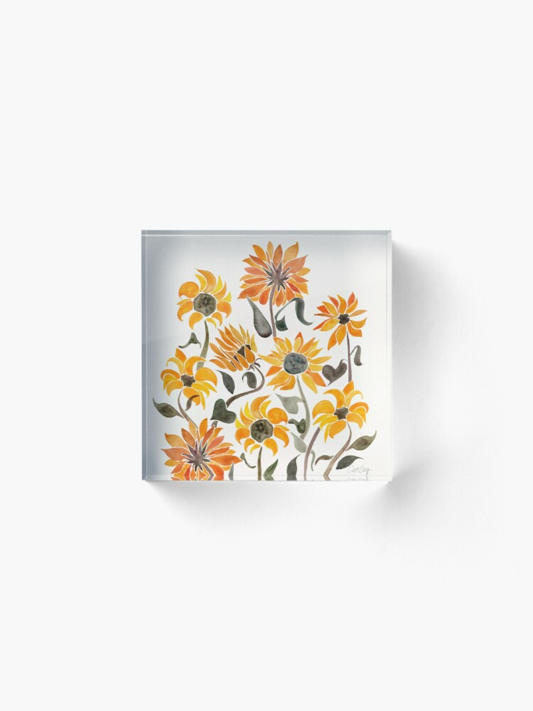 Alternate view of Sunflower Watercolor – Yellow & Black Palette Acrylic Block