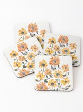 Sunflower Watercolor – Yellow & Black Palette Coasters