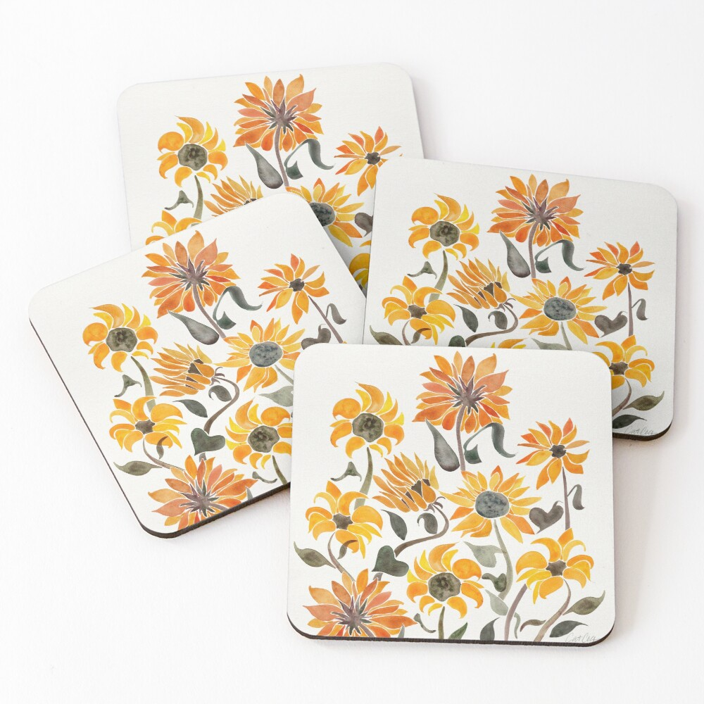 Sunflower Watercolor – Yellow & Black Palette Coasters (Set of 4)