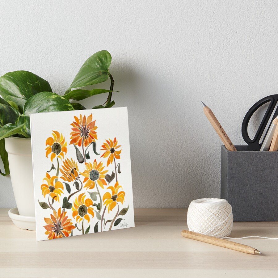 Sunflower Watercolor – Yellow & Black Palette by Cat Coquillette