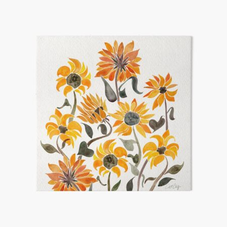 Sunflower Watercolor – Yellow & Black Palette Art Board Print