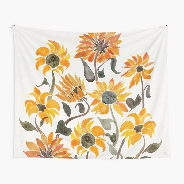 Sunflower Watercolor – Yellow & Black Palette Tapestry