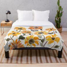 Sonnenblume-Aquarell - gelbe u. Schwarze Palette Fleecedecke