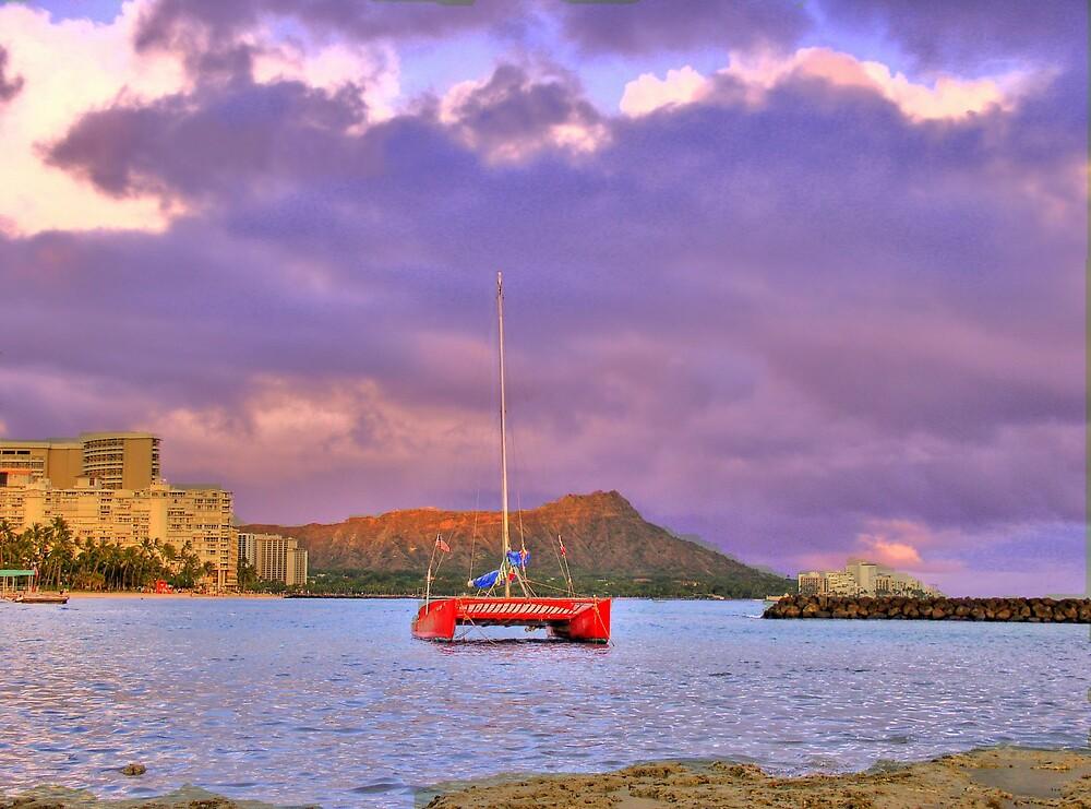 Diamond Head Sunset over Waikiki by Charlie54