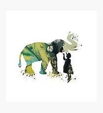 Elephant and child, watercolor art Photographic Print