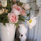 White Bird, Roses & Cosmos by Barbara Wyeth