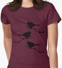 3 little birdies sitting in a tree Womens Fitted T-Shirt