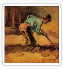 Vincent van Gogh - Man Stooping with Stick or Spade (1882) Sticker