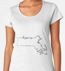 Massachusetts Home State Outline Women's Premium T-Shirt