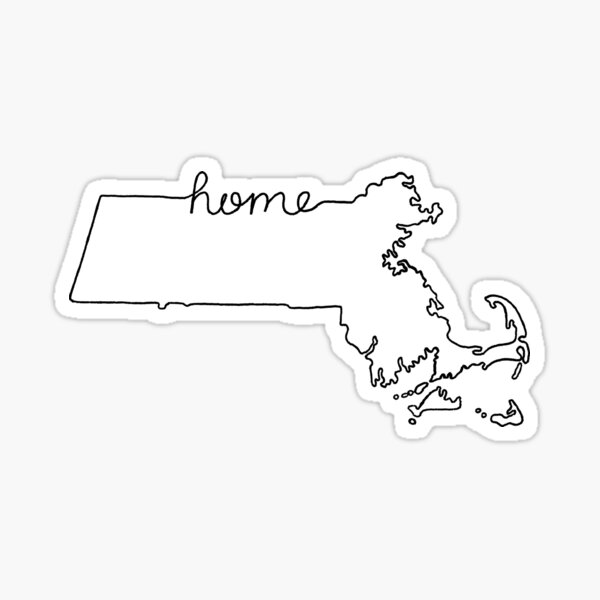 Massachusetts Home State Outline Sticker