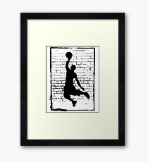 Basketball Slam Dunk Silhouette Framed Print