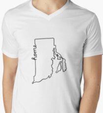 Rhode Island Home State Outline Men's V-Neck T-Shirt